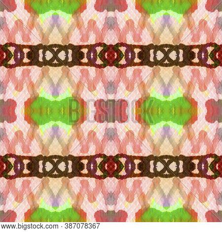 Aztec Rugs. Repeat Tie Dye Illustration. Ikat Islamic Print. Blue, Green, Indigo, Denim Seamless Tex
