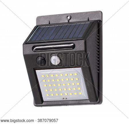 Solar Motion Sensor Led Wall Light (with Clipping Path) Isolated On White Background