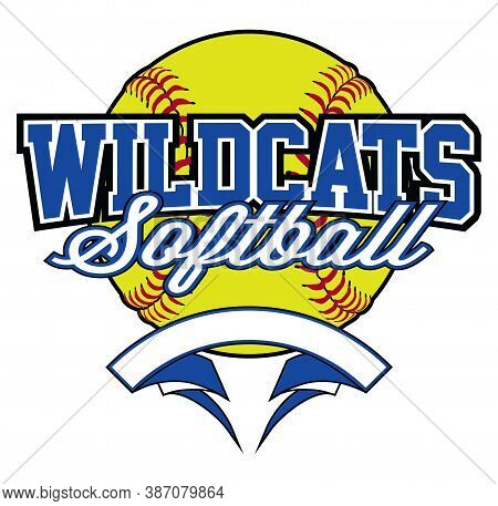 Wildcats Softball Design With Banner And Ball Is A Team Design Template That Includes A Softball Gra