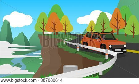 Family Cars Driving On Mountain Tours. Steel Barrier To Prevent Danger. Colorful Trees And Mountains