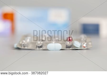 Pills Blister Pack From Blue Pill An Red Capsule