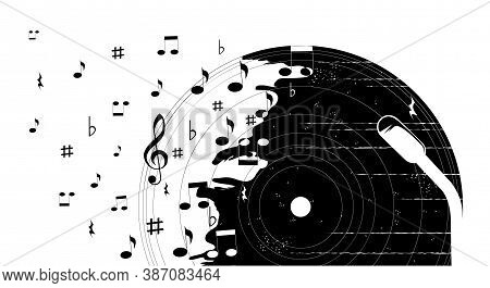 Poster With Vinyl Record, Sheet Music And Musical Notation. Vector Isolated Illustration On White Ba