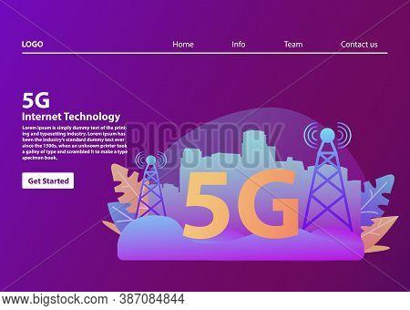 5g Network Wireless Technology.smart City .mobile Telecommunications Concept.