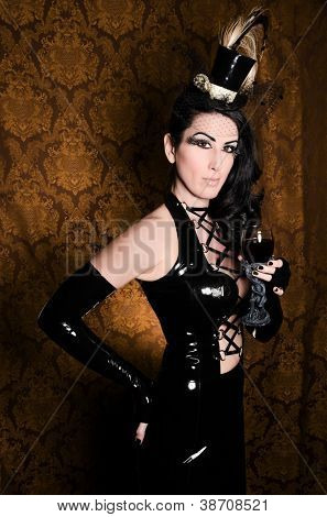 Sexy Retro Cabaret - Glamorous Vixen with Gothic Glass