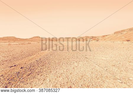 Breathtaking Landscape Of The Rock Formations In The Israel Desert At Dawn In A Contemporary Style.