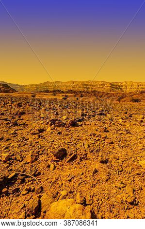 Breathtaking Landscape Of The Rock Formations In The Israel Desert. Lifeless And Desolate Scene As A