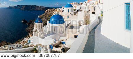 Oia village panorama, view of Ia town, Santorini island, Greece