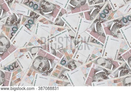 200 Croatian Kuna Bills Lies In Big Pile. Rich Life Conceptual Background
