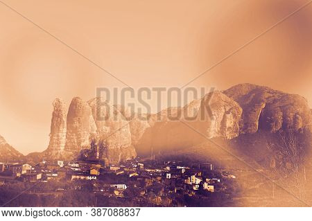 Deserted Village In Spain At Dawn In A Contemporary Style. Medieval Settlement At The Foot Of The Cl