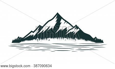 Mountain And Coniferous Forest Near River