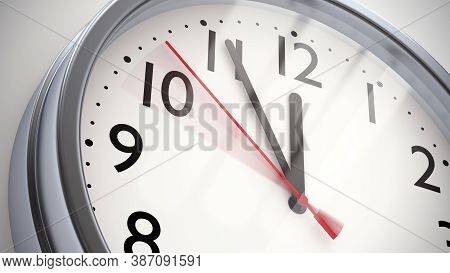 Five Minutes To Twelve: Midnight Or Noon. Metal Office Clock On White Wall. 3d Illustration