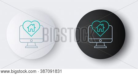 Line Computer Monitor With House In Heart Shape Icon Isolated On Grey Background. Love Home Symbol.