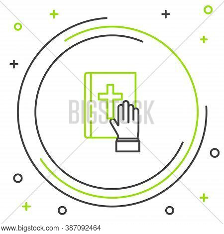 Line Oath On The Holy Bible Icon Isolated On White Background. The Procedure In Court. Truth And Tru