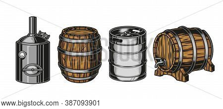 Colorful Beer Containers Vintage Set With Brewing Machine Metal Keg And Wooden Barrels Isolated Vect