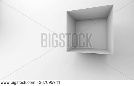 Abstract White Cgi Background With An Empty Cube Installation. 3d Rendering Illustration