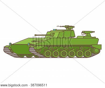 Infantry Armored Personnel Carrier With A Gun Tower And A Machine Gun.