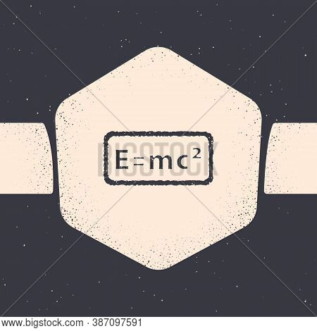Grunge Math System Of Equation Solution Icon Isolated On Grey Background. E Equals Mc Squared Equati