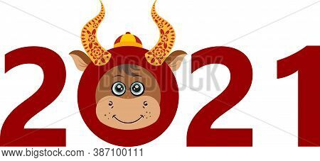 Scalable Vectorial Representing A Happy New Chinese Year 2021 Of The Ox, Element For Design, Illustr