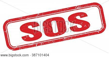 Sos Red Grungy Vintage Rectangle Stamp Sign.