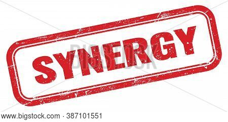Synergy Red Grungy Vintage Rectangle Stamp Sign.
