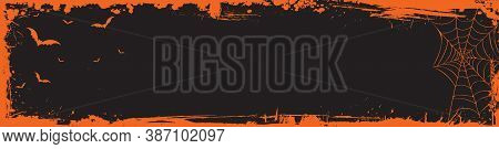Vector Halloween Web Banner Billboard Size Template Background With Bats, Spider Web