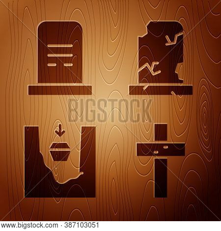 Set Christian Cross, Grave With Tombstone, Coffin In Grave And Old Grave With Tombstone On Wooden Ba