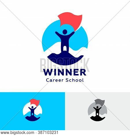 The Winner Icon. Hr Agency Logo. Career School Logo. The Person Climbed The Mountain. Man With A Fla
