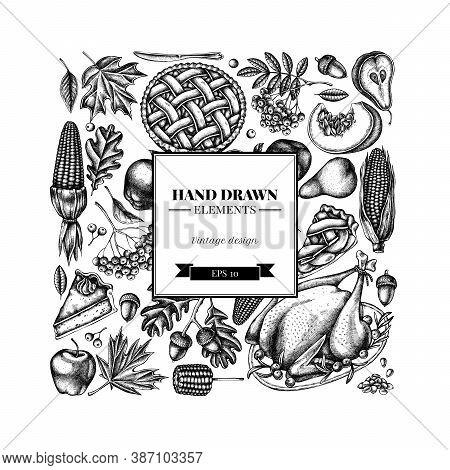 Square Design With Black And White Pumpkin, Fork, Knife, Pears, Turkey, Pumpkin Pie, Apple Pie, Corn