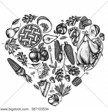 Heart Design With Black And White Pumpkin, Fork, Knife, Pears, Turkey, Pumpkin Pie, Apple Pie, Corn,