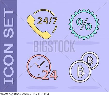 Set Cryptocurrency Coin Bitcoin, Telephone 24 Hours Support, Clock 24 Hours And Discount Percent Tag