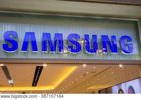 Macau / China - April 17, 2015: Samsung  store sign. Samsung is a South Korean multinational conglomerate headquartered in Samsung Town, Seoul.
