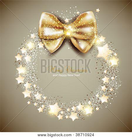 Elegante Weihnachtskranz mit Sternen und Bogen. Vektor