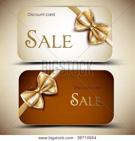 Auflistung von Geschenkkarten mit Bändern. Vektor-Hintergrund