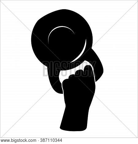 Hand Lifted Kettlebell. Flat Vector Illustration Kettlebell Icon Isolated On White Background.