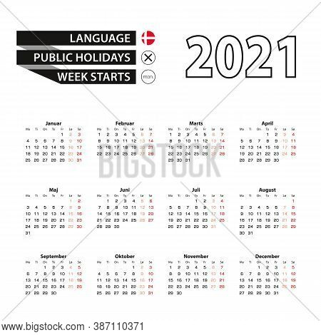Calendar 2021 In Danish Language, Week Starts On Monday. Vector Calendar 2021 Year.