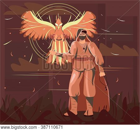 This Is A Phoenix Character For The Game. The Hero Has A Legend. The Picture Is Drawn In A Flat Styl