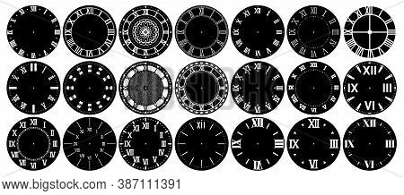 Vintage Clock Faces With Roman Numerals. Modern Minimalist And Elegant Retro Design Layout Of Dials