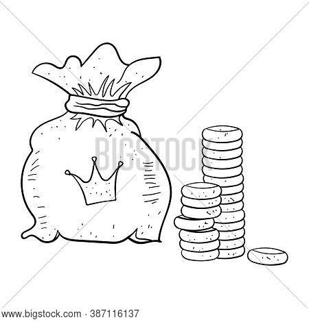 Coins. A Bag Of Money. Royal Treasury. Cartoon Coloring Illustration.