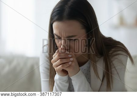 Upset Young Woman Lost In Thoughts Feeling Depressed
