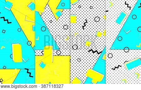 80s Background. Abstract Dots. Memphis Pattern. Vector Illustration. Hipster Style 80s-90s Pattern.