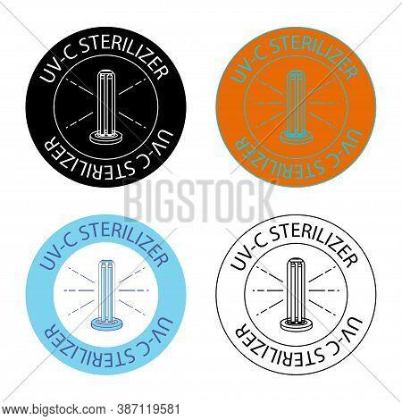 Uv-c Sterilizer Stamp. Uv Light Disinfection Icons. Badge Set For Ultraviolet Sterilization. Ultravi