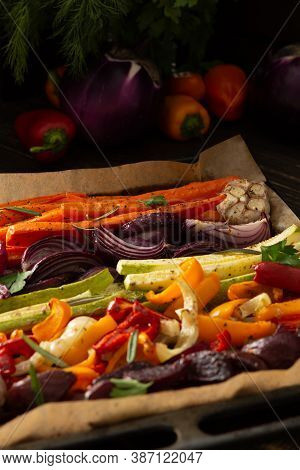 Stewed Vegetables On A Baking Sheet, Carrots With Garlic And Red Onions, Zucchini With Bell Pepper A