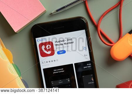 New York, Usa - 27 September 2020: Hushed 2nd Phone Number Mobile App Logo On Phone Screen Close Up,