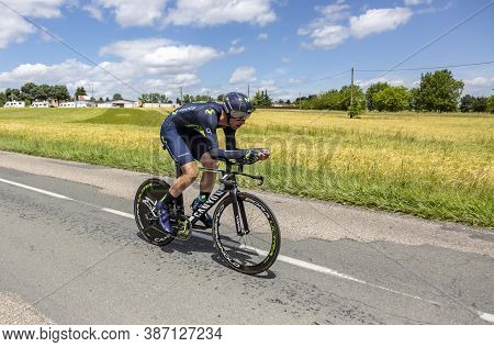 Bourgoin-jallieu, France - 07, May, 2017: The Spanish Cyclist Imanol Erviti Ollo Of Movistar Team Ri