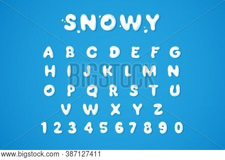 Snowy Winter Font Isolated On Blue Background. White Snow Alphabet In Bubble Style. Ice Letters And
