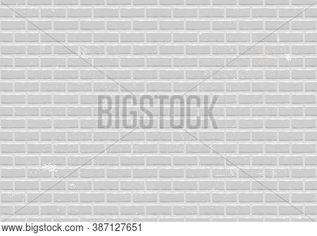 Vector Seamless Pattern Of White Bricks Wall. Brickwork Illustration. Old Stones Background