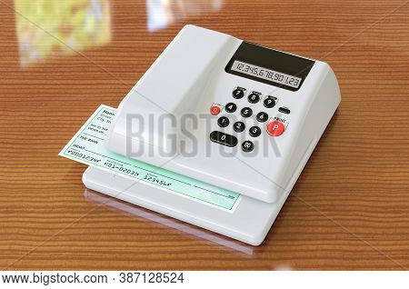 Modern Check Writer With Bank Check On The Wooden Table, 3d Rendering