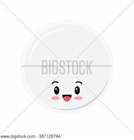 Cute White Drug Pill Isolated On White Background. Round Happy Smiling Tablet. Vector Flat Cartoon C