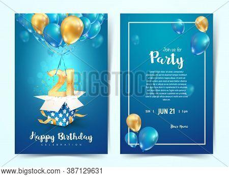 Celebration Of 21 Th Years Birthday Vector Invitation Card. Twenty One Years Anniversary Celebration