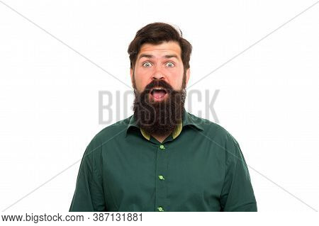 Looking Surprised. Surprised Hipster Isolated On White. Bearded Man Keep Mouth Open With Surprise. S